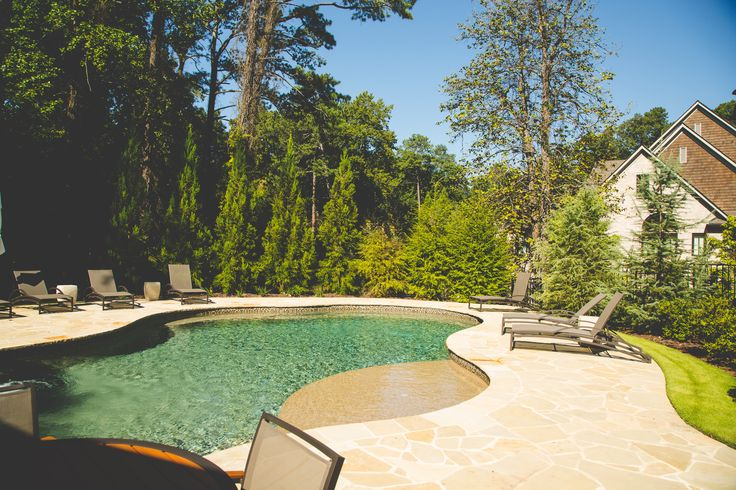 Pool with flagstone decking